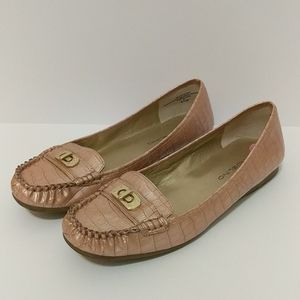 Blush pink snake print flat shoes